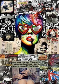 Digital Art - Punkrock Poster by Mira C , Digital Collage, Digital Art, Rock Posters, Rock Art, Contemporary Artists, Mixed Media Art, Online Art, Symbols, Media Marketing