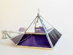 Stained Glass Display Box. Clear and Purple Jewelry Box. Glass Pyramid. Box with Crystal. (49.00 USD) by jacquiesummer