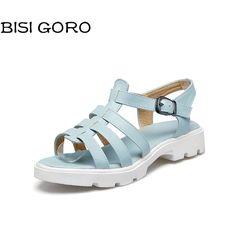 BISI GORO chunky platform sandals women gladiator heels summer shoes open toe pink white sandals female women wedge sandals 2017