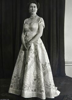 The Queen in her coronation gown that was designed by Sir Norman Hartnell 1952