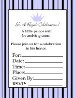 black and blue striped printable prince baby shower invitations
