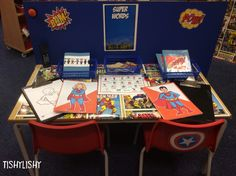 One of the desks in Superhero HQ Superhero Writing, Superhero Classroom Theme, Eyfs Classroom, Superhero Birthday Party, Classroom Displays, Classroom Themes, Writing Lab, Writing Area, Role Play Areas Eyfs