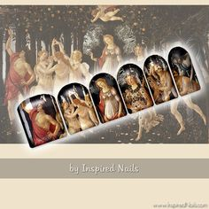 Botticelli's Primavera Nail Art Set of 24 Full Nail Fusion Decals by Inspired Nails