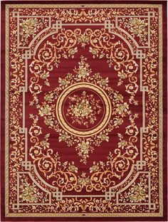 Red 9' 10 x 13' Classic Aubusson Rug | Area Rugs | eSaleRugs