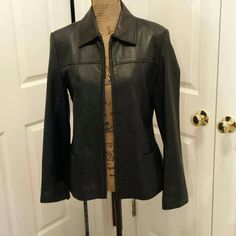 Leather coat Fun fun fun later jacket! Has little wear around bottom of zipper. AM Studio   Jackets & Coats