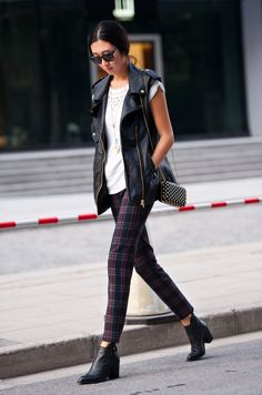 Leather vest and plaid pants - lovely fall outfit