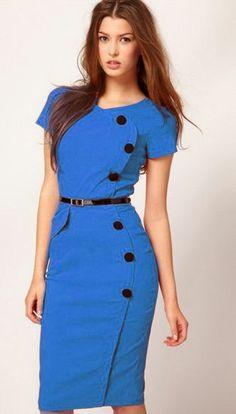 Blue Short Sleeve Belt Dress