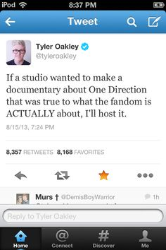 Can we please make this happen!! It would be freaking hilarious & awesome to have Tyler host a documentary about 1D!!!