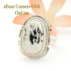 Size 7 3/4 White Buffalo Turquoise Sterling Silver Ring Navajo Artisan Larson L Lee NAR-1849 Four Corners USA OnLine Native American Jewelry