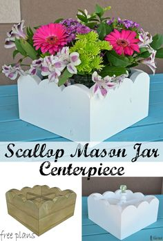 Cute planter boxes for a party wedding or your kitchen table. Free plans to build a scallop mason jar centerpiece. Cute planter boxes for a party wedding or your kitchen table. Free plans to build a scallop mason jar centerpiece. Awesome Woodworking Ideas, Woodworking Box, Woodworking Workshop, Easy Woodworking Projects, Diy Wood Projects, Woodworking Beginner, Woodworking Classes, Woodworking Furniture, Mason Jar Centerpieces