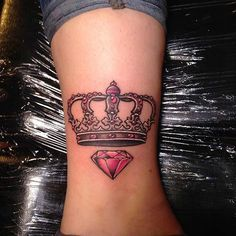 12 Creative Crown Tattoo Ideas for Women: #3. PINK DIAMOND AND CROWN