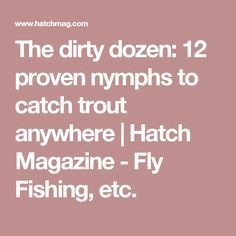 The dirty dozen: 12 proven nymphs to catch trout anywhere   Hatch Magazine - Fly Fishing, etc.