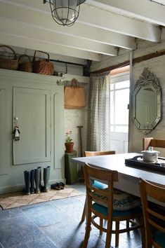 love this welsh farmhouse kitchen with painted green cupboard, flag stone floor and rustic furniture of interiors stylist Hilary Lowe of Damson Slate click the image or link for more info. Furniture, Kitchen Furniture, Interior, Rustic Kitchen Design, Stone Flooring, Interior Design Kitchen, Rustic Furniture, Kitchen Remodel Inspiration, Rustic Kitchen