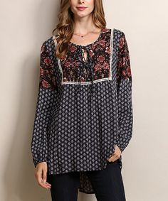 Look at this Tassels N Lace Navy Polka Dot & Floral Tie Neck Tunic on #zulily today!