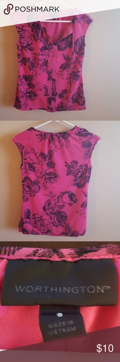 """Pink blouse with black roses. Great for work or with a pair of jeans. Worn only a couple of times. Has small 3.5 """" slits on the side of the blouse. Worthington Tops Blouses"""