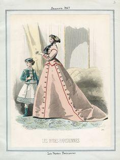 Les Modes Parisiennes January 1867 Casey Fashion Plates Detail | Los Angeles Public Library