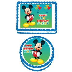 Mickey Mouse Edible Cake, Cupcake or Cookie Topper Icing Frosting Sheet Birthday 1st Party Decoration