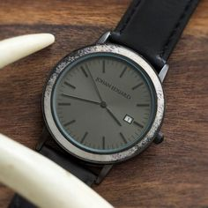 Natural Deer Antler Watch, Matte Black Watch And Leather Strap-JE1006-2