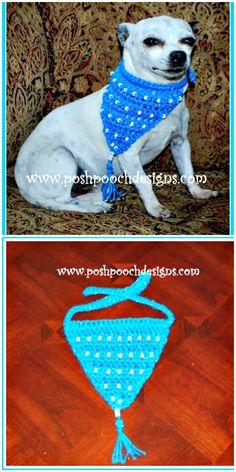 Free Crochet Beaded Bandanna For Dogs Pattern
