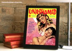 Lesbian Framed Print: The Unashamed, Pulp Art, March Hastings, Sexy, Midwood Framed Art, Paul Rader, Queer Love, Pink Yellow Red by FRAMEDVINTAGE on Etsy https://www.etsy.com/listing/200461234/lesbian-framed-print-the-unashamed-pulp