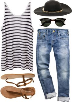 A fashion look from February 2014 featuring striped tank top, boyfriend jeans and woven shoes. Browse and shop related looks. Comfy Travel Outfit, Travel Outfit Summer, Trend Fashion, Look Fashion, Womens Fashion, Cheap Fashion, Curvy Fashion, Fall Fashion, Mode Outfits