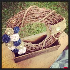Grapevine Wreath with Burlap, Fabric, and Denim Flowers.