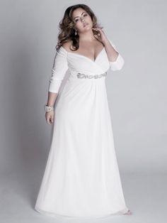 Chiffon Plus Size Wedding Dress with Off-the-shoulder and Three-quarters sleeve Delicious....and sexy!  Chiffon e manica a 3/4 ... Delizioso e seducente!