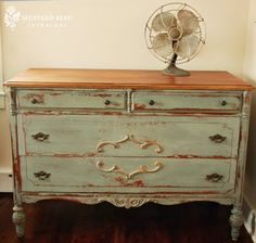 WOW! Love the antique finish on this dresser...thinking of doing this to my old dresser!