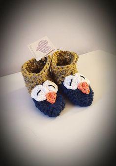 Handmade baby & kids owl slippers / booties. by Happylandcreations