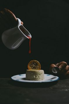polenta coconut almond milk baked pudding with burnt sugar blood orange sauce