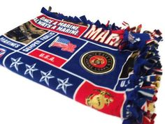 United States Marine Corps Fleece Tie Blanket by BlanketsUnlimited, $39.00