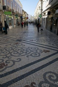 Impressive tiled streets in Faro, these tiles are used extensively through Portugal and Spain. Portugal Travel, Spain And Portugal, Algarve, Portugal Places To Visit, Mosaic Walkway, San Junipero, Portuguese Culture, Spanish Architecture, Europe Photos