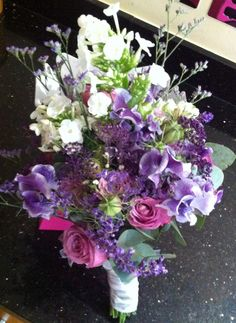 Natural country style bouquet with garden flowers. Designed by gailarmytage.co.uk