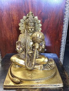 "Yoga Gift- Hindu God Hanuman Statue Brass Decor Indian Religious Figurines 7.5"""