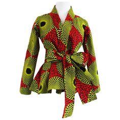 Diola African Print Peplum Blazer (Dark Orange/Green)