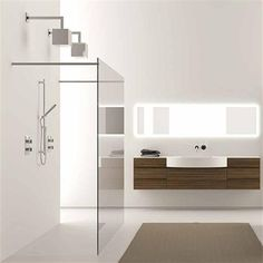 Love the shower and the floating vanity #bathroom
