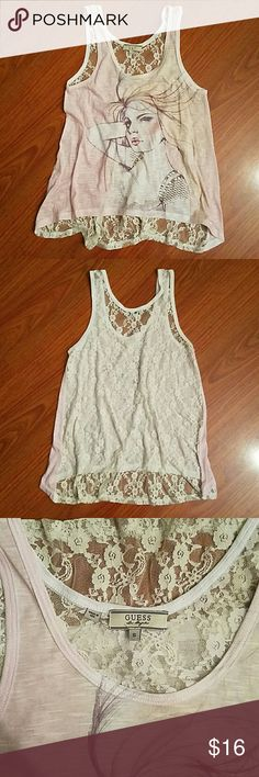 Guess tank top Laced back tank top Tops