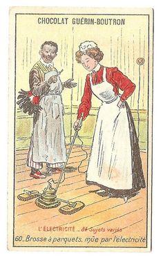 Brosse à parquet - ménagère - L électricité - Chromo Guérin Boutron - Trade Card