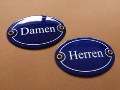 German Enamel Signs Porcelain Pair Damen by enamelsignsrevival