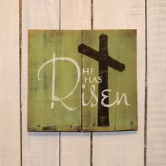 Easter Gift - He Has Risen - Hand Painted Reclaimed Pallet Wood Sign - Easter Decor, Easter Sign, Spring Sign Wood Pallet Signs, Pallet Art, Wood Pallets, Wood Signs, Rustic Signs, Easter Gift, Easter Crafts, Easter Decor, Easter Projects