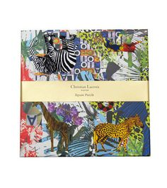 - Reversible puzzle features the Bijoux intricate jewel design on one side and the jungle animal-themed Glam'azonia print on the reverse. - 36 pieces. - Flocked and hot-stamped in gold and silver. - R
