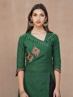 Placement Embroidered Kurti with Pant Set - Bottle Green - Fashor Salwar Designs, Salwar Suit Neck Designs, Silk Kurti Designs, Neck Designs For Suits, Kurta Neck Design, Neckline Designs, Kurta Designs Women, Kurti Designs Party Wear, Dress Neck Designs