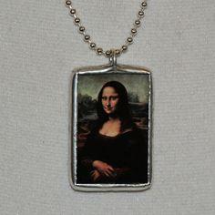 Soldered Glass Vintage Art Necklace  Mona Lisa by mysweetseptember