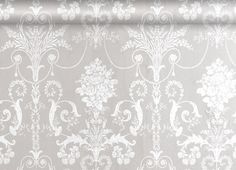 Josette White/Dove Grey Damask Wallpaper  A French toile inspired damask design printed washable wallpaper suitable for all interiors including well ventilated kitchens and bathrooms.