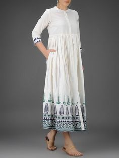 Ivory-Blue Block-Printed Button-Down Cotton Dress with Gathers