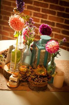tea lights, succulents, and wildflowers #Anthropologie #PintoWin