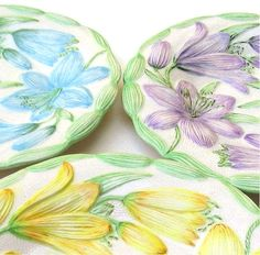 Retro Dishes Floral Salad Plates Vintage by bythewayside on Etsy, $25.00
