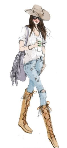 fashion street style for women #women #chic #fashion #illustration