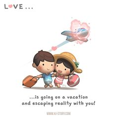 HJ Story - Vacation with those you love is like a temporarily. Love Is Comic, Love Is Cartoon, Cute Love Cartoons, Hj Story, Cute Love Stories, Love Story, Love Is Sweet, What Is Love, Wedding Couple Cartoon