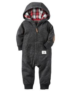 Featuring a cozy plaid-lined hood and easy-on zip-front design, this terry jumpsuit is a playtime must have.